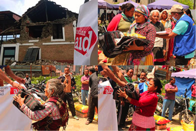 Christian Aid partners distribute blankets, tarpaulins and food in Kirtipur, Kathmandu Valley.